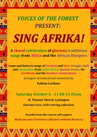 Sing Afrika! - Saturday 6th October 2018 at St Thomas's Church in Lymington, 11.00am to 11.45am