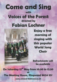 Rescheduled - Come and Sing - Ringwood - now on Saturday 12th May - 10.30 to 12.30
