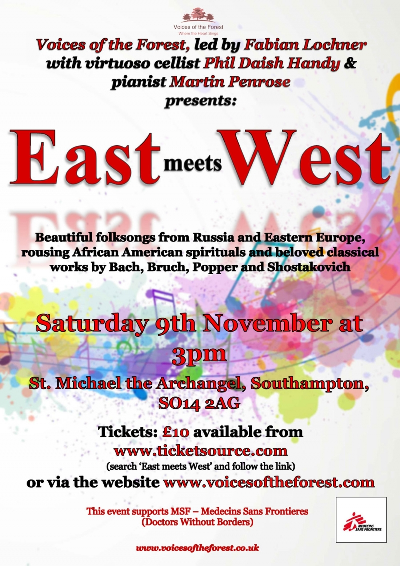 Saturday 9th November, 3pm - 'East Meets West' an afternoon performance at St. Michael the Archangel church, Southampton, with cellist Phil Daish-Handy