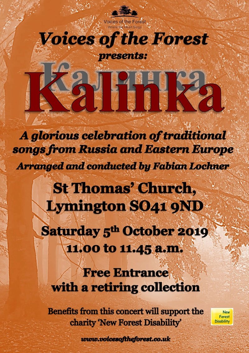 Saturday 5th October 2019, 11.00am - 'Kalinka' a free concert at St. Thomas's Church in Lymington