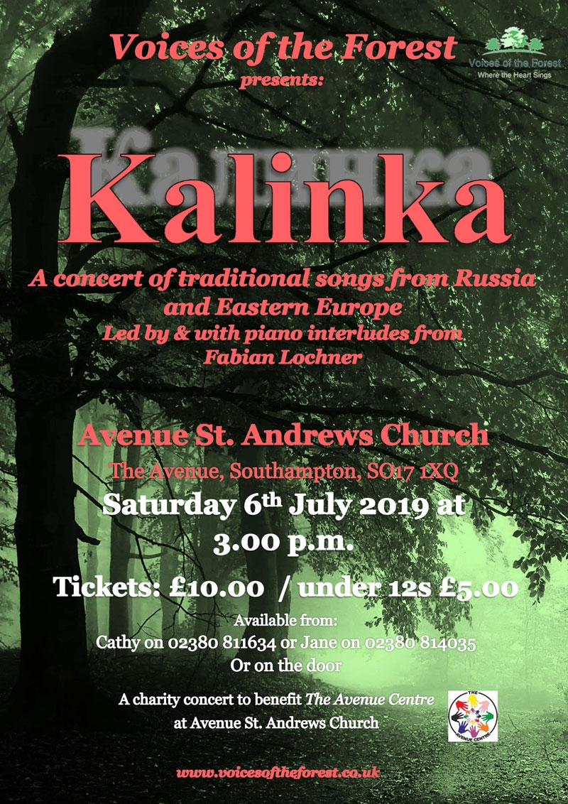 Saturday 6th July 2019 at 3pm - an afternoon performance at Avenue St Andrews Church in Southampton